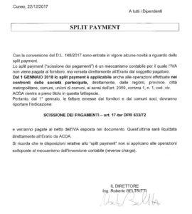 Split-Payment comunicazione ai fornitori